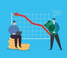 men with infographic of financial recovery vector