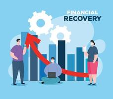 people with infographic of financial recovery vector