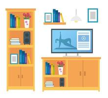 set of furniture decoration and icons vector