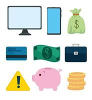 set of electronics devices and business icons vector
