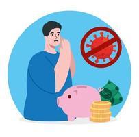 hombre e íconos del impacto económico del coronavirus vector