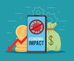 smartphone con iconos de impacto económico de coronavirus vector