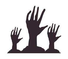 death zombie hands isolated icons vector