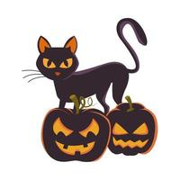 halloween pumpkins with faces and cat vector