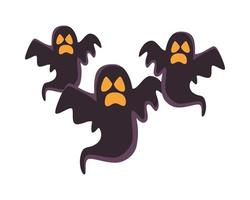 halloween ghosts floating isolated icons vector