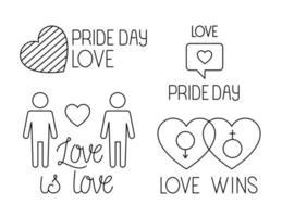 paquete de iconos del día del orgullo, estilo de línea vector