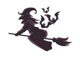 witch flying on broom and bats flying silhouette icon vector
