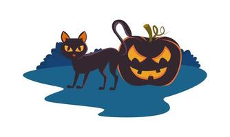 halloween pumpkin with face and cat vector