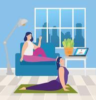 women practicing online yoga in living room vector