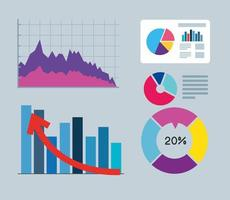 infographics of financial recovery icon set vector