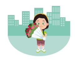 cute little girl student with flowers bouquet character vector