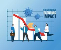 personas con infografía de impacto económico del coronavirus vector