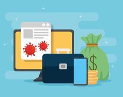computer with icons of coronavirus economic impact