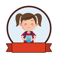 cute little girl student with aquarium character vector