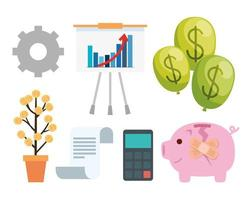 financial recovery icon set vector