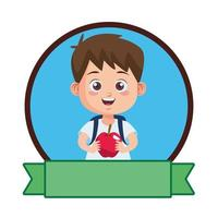 cute little boy student with apple vector