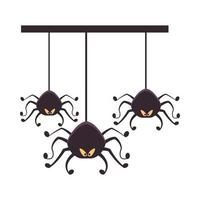 halloween spiders hanging isolated icons vector