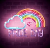 luz de neón del día del orgullo con arco iris y nubes vector