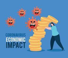 mujer con iconos de impacto economico coronavirus vector