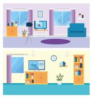 Home interior background set vector