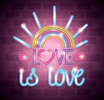 pride day neon light with label love is love vector