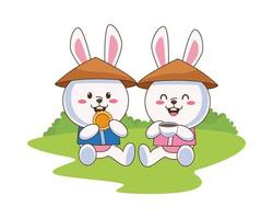 cute mid autumn rabbits with chinese hats eating cookie and drinking tea vector