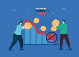 couple with infographic of financial recovery vector