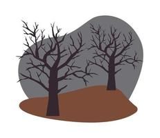 halloween dry trees isolated icons vector