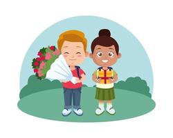 cute black little girl with gift and boy with roses bouquet vector