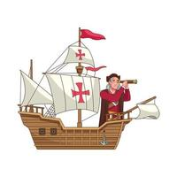 Christopher Columbus with telescope in caravela vector