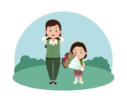 Linda joven maestra y colegiala con ramo de rosas vector