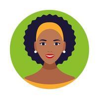 icono de personaje de avatar de mujer negra hermosa vector