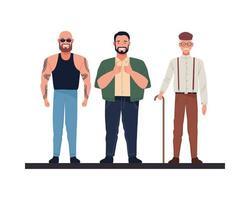 personajes de hombres calvos, grandes y viejos vector