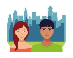 pareja interracial, mujer caucásica y hombre latino personajes de avatares vector