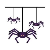 halloween spiders hanging isolated icon vector