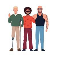hombre genial, hombre calvo y hombre con prótesis de pierna vector