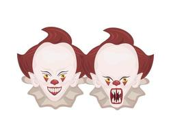 dark evil clowns heads vector