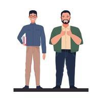 big man and nerd characters vector