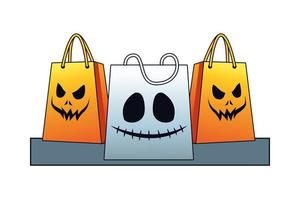 halloween shopping bags with scary faces vector