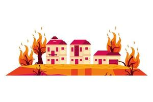 houses in forest fire, global warming scene