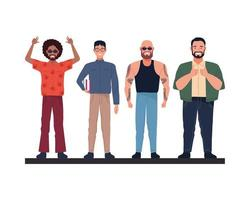 cool guy, nerd, tattooed man, and big man characters vector