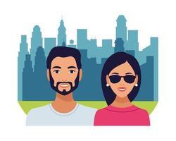 latin couple avatars characters vector