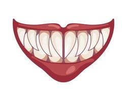 dark evil clown mouth halloween icon vector