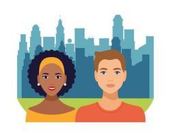 pareja interracial, mujer negra y hombre caucásico avatares personajes vector