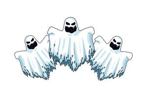 floating halloween ghosts characters icons vector