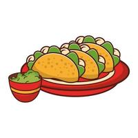 cartoon plate with tacos and guacamole vector