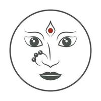 hindu goddess face navratri emblem vector