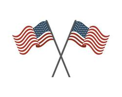 united states of america flags on crossed poles vector
