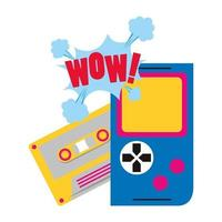 retro videogame portable and cassette vector