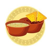 mexican nachos and fried beans with cheddar sauce vector